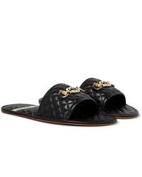 schwarze Ledersandalen von Gucci