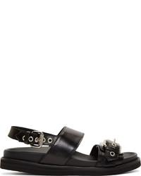 schwarze Ledersandalen von McQ