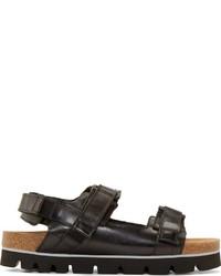 schwarze Ledersandalen von MSGM