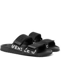 schwarze Ledersandalen von Versace