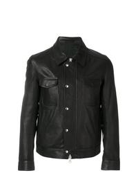 schwarze Shirtjacke aus Leder von AMI Alexandre Mattiussi