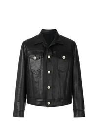 schwarze Ledershirtjacke von Neil Barrett