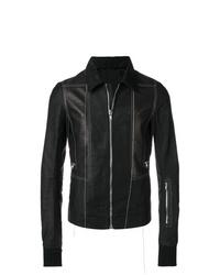 schwarze Shirtjacke aus Leder von Rick Owens