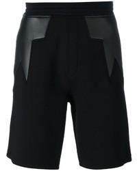 schwarze Ledershorts mit geometrischem Muster von Neil Barrett