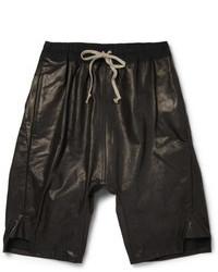 schwarze Ledershorts von Rick Owens