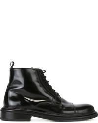 schwarze Lederstiefel von AMI Alexandre Mattiussi