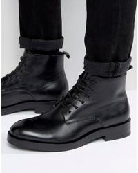 schwarze Lederstiefel von Calvin Klein