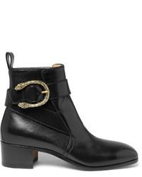 schwarze Lederstiefel von Gucci