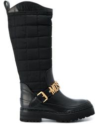 schwarze Lederstiefel von Moschino