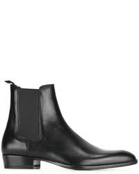 schwarze Lederstiefel von Saint Laurent