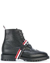 schwarze Lederstiefel von Thom Browne