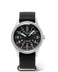 schwarze Lederuhr von Timex