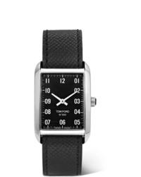 schwarze Lederuhr von Tom Ford Timepieces