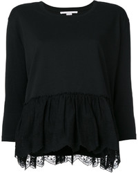 schwarze leichte Bluse mit Rüschen von Stella McCartney