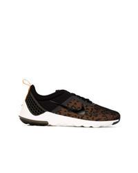 schwarze niedrige Sneakers mit Leopardenmuster
