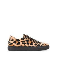 schwarze niedrige Sneakers mit Leopardenmuster von P.A.R.O.S.H.