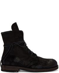 schwarze Nubuk Stiefel von Ann Demeulemeester