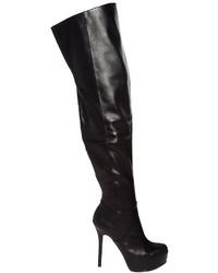 schwarze Overknee Stiefel aus Leder