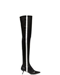 schwarze Overknee Stiefel aus Leder von Alchimia Di Ballin