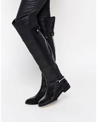 Schwarze Overknee Stiefel aus Leder von Asos