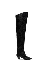 schwarze Overknee Stiefel aus Leder von ATTICO