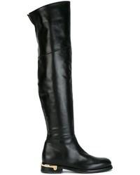 schwarze Overknee Stiefel aus Leder von Baldinini