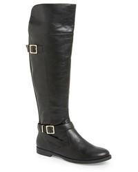 Schwarze Overknee Stiefel aus Leder von Bella Vita