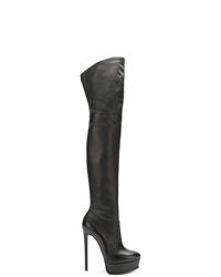 schwarze Overknee Stiefel aus Leder von Casadei