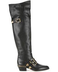 schwarze Overknee Stiefel aus Leder von Chloé