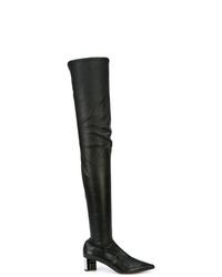schwarze Overknee Stiefel aus Leder von Clergerie