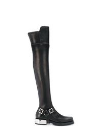 schwarze Overknee Stiefel aus Leder von Ermanno Scervino