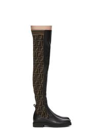 schwarze Overknee Stiefel aus Leder von Fendi