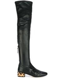 schwarze Overknee Stiefel aus Leder von Francesco Russo