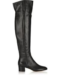 schwarze Overknee Stiefel aus Leder von Gianvito Rossi