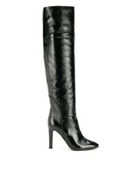 schwarze Overknee Stiefel aus Leder von Giuseppe Zanotti