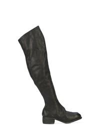 schwarze Overknee Stiefel aus Leder von Guidi
