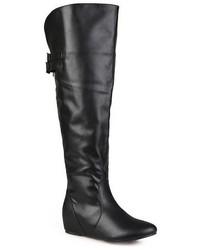 Schwarze Overknee Stiefel aus Leder von Journee Collection