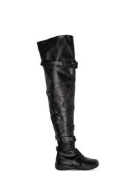 schwarze Overknee Stiefel aus Leder von Maison Margiela