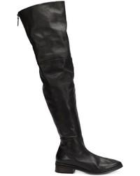 schwarze Overknee Stiefel aus Leder von Marsèll