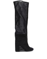 schwarze Overknee Stiefel aus Leder von MM6 MAISON MARGIELA