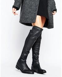 Schwarze Overknee Stiefel aus Leder von Oasis