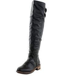 Schwarze Overknee Stiefel aus Leder von Qupid