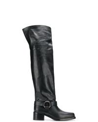 schwarze Overknee Stiefel aus Leder von RED Valentino
