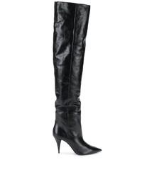 schwarze Overknee Stiefel aus Leder von Saint Laurent