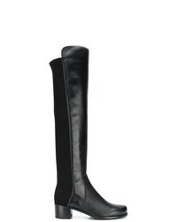 schwarze Overknee Stiefel aus Leder von Stuart Weitzman