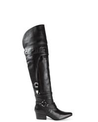 schwarze Overknee Stiefel aus Leder von Toga