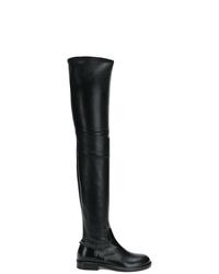 schwarze Overknee Stiefel aus Leder von Valentino
