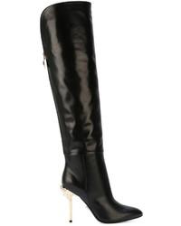schwarze Overknee Stiefel aus Leder von Versace