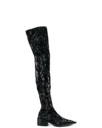 schwarze Overknee Stiefel aus Pailletten von MM6 MAISON MARGIELA