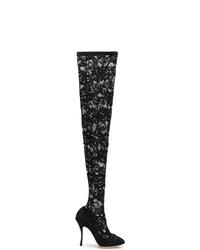 schwarze Overknee Stiefel aus Segeltuch von Dolce & Gabbana